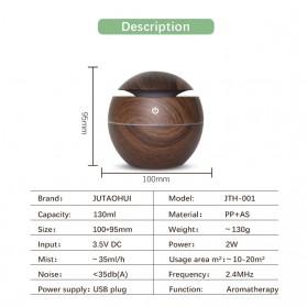 JUTAOHUI Air Humidifier Aromatherapy Oil Diffuser Wood Design 130ml - JTH-001 - Dark Brown - 3