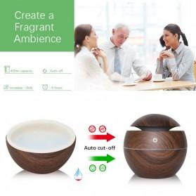 JUTAOHUI Air Humidifier Aromatherapy Oil Diffuser Wood Design 130ml - JTH-001 - Dark Brown - 4