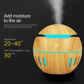 KEBEIER Air Humidifier Aromatherapy Oil Diffuser Wood Design 130ml - K-H272 - Dark Brown - 11