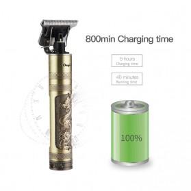 VIP Alat Cukur Elektrik Hair Clipper Ceramic Trimmer USB Rechargerable Model Retro Black - WS-T99 - Black Gold - 4