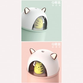 HFER Mini Air Humidifier Aromatherapy Oil Diffuser USB Cute Cat - H329 - Pink - 7
