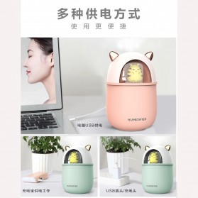 HFER Mini Air Humidifier Aromatherapy Oil Diffuser USB Cute Cat - H329 - Pink - 8