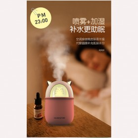 HFER Mini Air Humidifier Aromatherapy Oil Diffuser USB Cute Cat - H329 - Pink - 4
