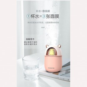 HFER Mini Air Humidifier Aromatherapy Oil Diffuser USB Cute Cat - H329 - Pink - 5