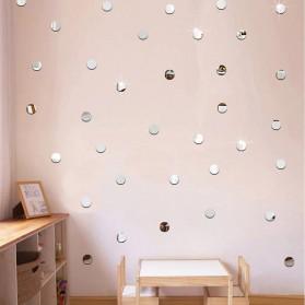 SOLEDI Sticker Dekorasi Dinding Mirror Acrylic Round Shape 100 PCS - CX909 - Silver - 2