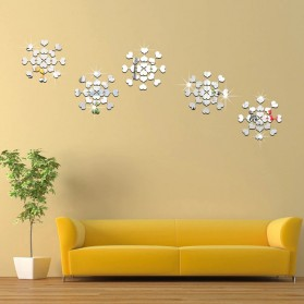 SOLEDI Sticker Dekorasi Dinding Mirror Acrylic Heart Shape 100 PCS - CX909 - Silver - 4