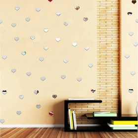 SOLEDI Sticker Dekorasi Dinding Mirror Acrylic Heart Shape 100 PCS - CX909 - Silver - 6