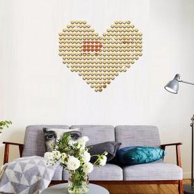 SOLEDI Sticker Dekorasi Dinding Mirror Acrylic Heart Shape 100 PCS - CX909 - Silver - 9