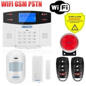 EMASTIFF Sistem Alarm Rumah Anti Maling Home Security WiFi GSM PTSN - G2BW - White