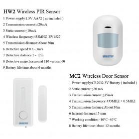 EMASTIFF Sistem Alarm Rumah Anti Maling Home Security WiFi GSM PTSN - G2BW - White - 10