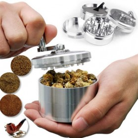 TBER Grinder Penggiling Tembakau Rokok 4 Layer 55MM with Handle - LBR-24 - Silver