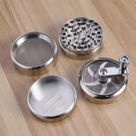 TBER Grinder Penggiling Tembakau Rokok 4 Layer 55MM with Handle - LBR-24 - Silver - 4