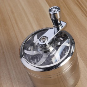TBER Grinder Penggiling Tembakau Rokok 4 Layer 55MM with Handle - LBR-24 - Silver - 5