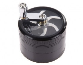 TBER Grinder Penggiling Tembakau Rokok 4 Layer 55MM with Handle - LBR-24 - Black