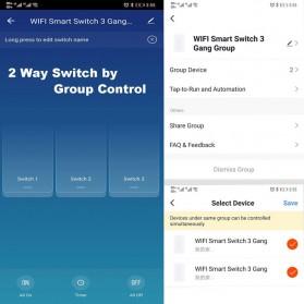 SHAWADER Smart Home Saklar Lampu Touch Wireless WiFi 2 Switch - WLS028 - Black - 6