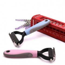 PAWING Sisir Rambut Binatang Peliharaan Hair Removal Comb Pet Grooming Tool - AES0124 - Blue - 4
