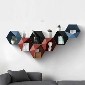 Lazyishhouse Rak Dinding Minimalis Dekorasi Hexagonal - 67267 - Black - 2