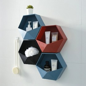 Lazyishhouse Rak Dinding Minimalis Dekorasi Hexagonal - 67267 - Blue - 6