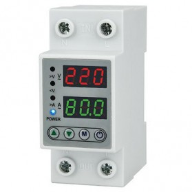 EARUELETRIC Digital Din Rail Over Under Voltage Protection Self-recoverable 220V 40A - EAPDX-40 - White