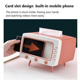 Fiqile Kotak Tisu Model TV with Smartphone Holder - ZJ011 - Gray - 7