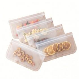 Amil Kantong Plastik Organizer Makanan Silicone Food Bag Ziplock Size M - B0271 - Transparent - 4
