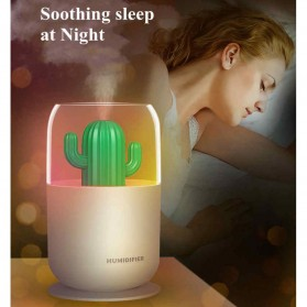 HIMIST Air Humidifier Pelembab Udara Aromatherapy Oil Diffuser Desain Kaktus 300ML - Y07 - White - 5