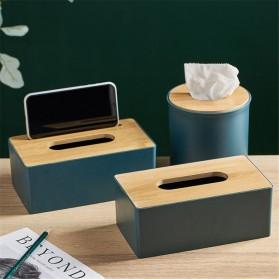 TaffHOME Kotak Tisu Kayu Solid Wood Tissue Box Model Tabung - ZJ013 - Green - 4