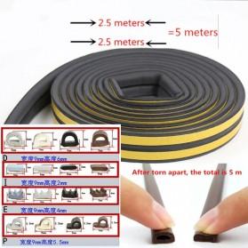 MIFENGTIAO Lis Penghalang Debu Serangga Bawah Pintu Door Bottom Soundproof Sealing Strips Tipe D 2x2.5m - ESPV5 - Black