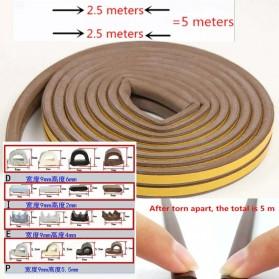 MIFENGTIAO Lis Penghalang Debu Serangga Bawah Pintu Door Bottom Soundproof Sealing Strips Tipe D 2x2.5m - ESPV5 - Brown