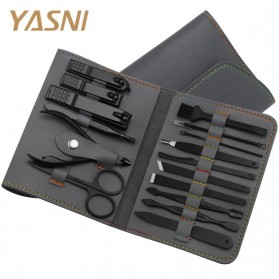YASNI Gunting Kuku Nail Art Set Manicure Pedicure 16 PCS - CT02 - Black