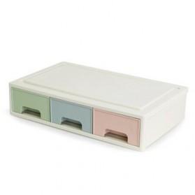 ALEQO Kotak Barang Organizer Stackable Storage Box 3 Door Small - H-1066 - White
