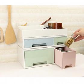 ALEQO Kotak Barang Organizer Stackable Storage Box 3 Door Small - H-1066 - White - 11