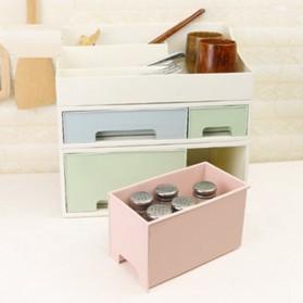 ALEQO Kotak Barang Organizer Stackable Storage Box 3 Door Small - H-1066 - White - 3