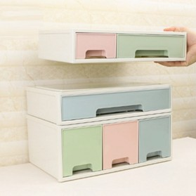 ALEQO Kotak Barang Organizer Stackable Storage Box 3 Door Small - H-1066 - White - 4