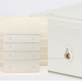 ALEQO Kotak Barang Organizer Stackable Storage Box 3 Door Small - H-1066 - White - 7