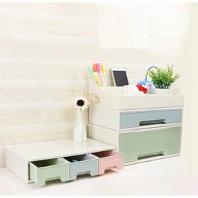 ALEQO Kotak Barang Organizer Stackable Storage Box 3 Door Small - H-1066 - White - 8