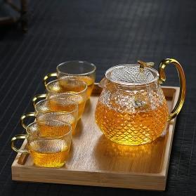 Homadise Teko Pitcher Teh Chinese Teapot Maker Borosilicate Glass 600ml with 4 Glass - JJ0006 - Transparent