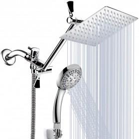 Malaiholo Set Shower Mandi Rainfall Combo Stainless Steel Square Handheld - M001 - Silver
