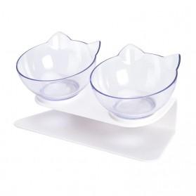 KOVELY Tempat Makan Hewan Peliharaan Kucing Anjing Feeding Dishes Double Bowl - CFB32 - Transparent
