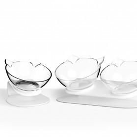 KOVELY Tempat Makan Hewan Peliharaan Kucing Anjing Feeding Dishes Double Bowl - CFB32 - Transparent - 3