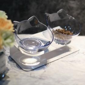 KOVELY Tempat Makan Hewan Peliharaan Kucing Anjing Feeding Dishes Double Bowl - CFB32 - Transparent - 4