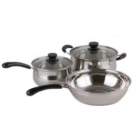 LMETJMA Set Panci Masak 3 in 1 Deep Frying Soup Pot Stainless Steel - LA031 - Silver