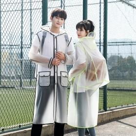 FJUN Jas Hujan Portable Raincoat Transparent Poncho with Hood Size XL - FJ300 - Black