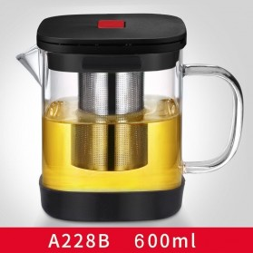 Angelacoco Teko Pitcher Teh Square Glass Teapot Maker 600ml with Infuser Strainer - A228B - Black