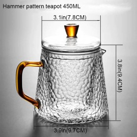 BORREY Teko Pitcher Teh Chinese Teapot Maker Borosilicate Glass 450ml - BR-035 - Transparent - 7