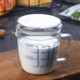 DROHOEY Gelas Teko Susu Kopi Milk Jug Borosilicate Glass Pitcher Flat Lid 250ml - ZM0080 - Transparent