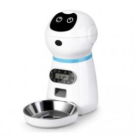 ZKYJ Tempat Makan Hewan Anjing Kucing Otomatis Automatic Pet Food Dispenser 3.5L - RobPAF-35L - White