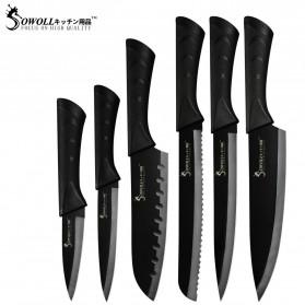 Sowoll Set Pisau Dapur Kitchen Knives Stainless Steel 6 PCS - DSW-058 - Black