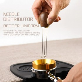 FENINCAFE Tamper Jarum Kopi Espresso Needle Distributor Coffee Tamper Stainless Steel - CY-B222 - Brown - 2