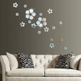 SOLEDI Sticker Cermin Dekorasi Dinding Flower Mirror Acrylic 18 PCS - SL18 - Silver
